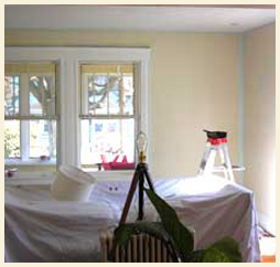 Residential room prepped for new painting coat