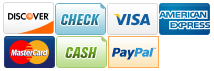 We Accept Discover, Check, Visa, AmericanExpress, MasterCard, Cash and Paypal.