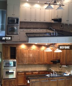 Marietta, GA Interior House Painters - Kitchen Cabinets Before and After - Kimberly Painting